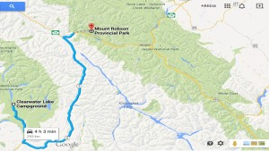 GoogleMap - Wells Gray to Mt Robson