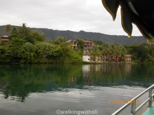 First glimpse of Mas Cottages from the boat.