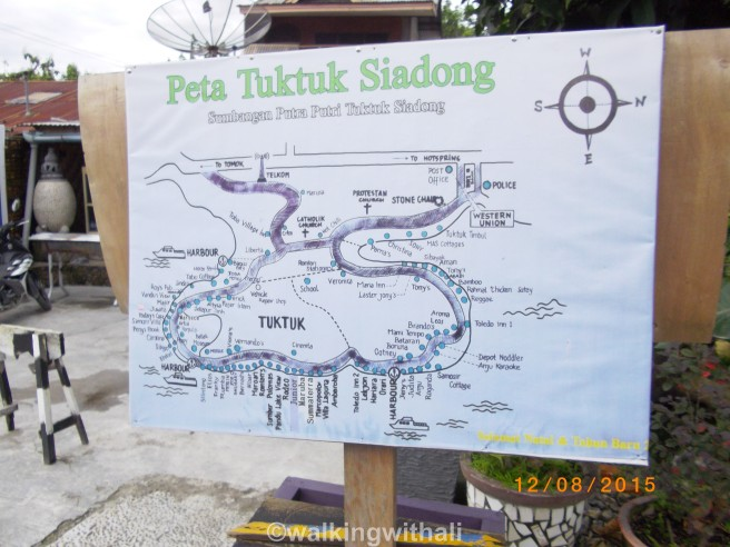 A pretty ok map of Tuk Tuk outside one of the cafes. It takes about an hour or so on foot to complete the loop.
