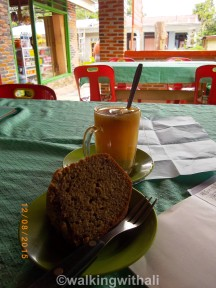 Banana cake and ginger drink.