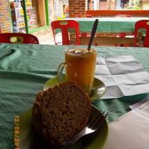 Banana cake and ginger drink.