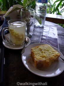Ginger tea without the black tea. So ginger water. My pineapple cake before it was attacked.
